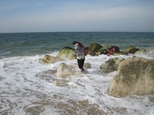 My Children Trying Hard To Stay Dry At Hengistbury Head