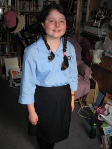 Jaina in her school uniform on her first day