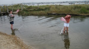 The kids river dipping at Hengistbury Head